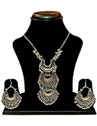 Aradhya Designer High Quality Oxidized Silver Afgani Necklace With Earrings For Women And Girls