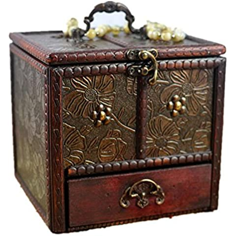 Di alta qualità Retro contenitore di monili di legno con un condimento scatola dello specchio , picture