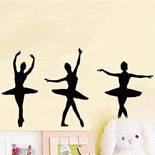 -Ballett Tänzerim Silhouette Wand Aufkleber für Mädchen Dekorative Wandaufkleber Abnehmbare DIY Vinyl Wandtattoos Tanz Themed Wandbild für Wohnzimmer, Mädchen Schlafzimmer ()