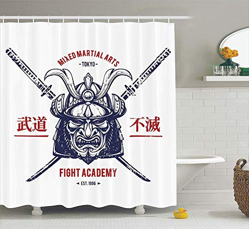 Japanese Decor Shower Curtain Set By, Distressed Rustic Featured Graphic Work Of A Top-Heavy Samurai Mask Facial Armor Mempo, Bathroom Accessories, 60 x 72 Inches Inches, Navy Blue and Red