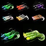 XQxiqi689sy 17Pcs Silicone Pesca richiamo Jig Head Hook Verme Artificiale Soft Esche Tackle