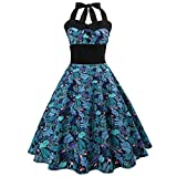 VEMOW Elegante Damen Damen Vintage Bodycon Sleeveless Halter beiläufige Tanzabend Party Prom Brautjungfern Swing Dress Faltenrock Cocktailkleid(Blau 1, EU-42/CN-XL)