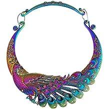 07b86592b991 TOOGOO Retro etnico tallado purpura verde pavo real collar grande indio maxi  joyeria de las mujeres