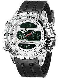 SHARK hombre deportivos Cuarzo relojes de pulseras silicona LCD Cronógrafo Despertador Minutero SH595