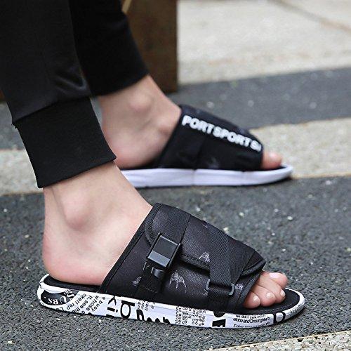 Lété, chaussons pour hommes, de la mode, faites glisser mot, intérieur et extérieur, les glissements, chaussons, mens summer X8 white black