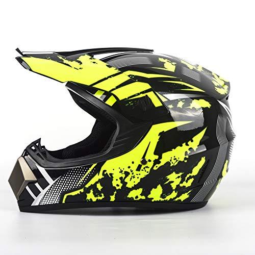BBINHAN Motocross Helm Set MX Motorradhelm ATV-Roller-Downhill Schutzhelm Unisex Motorradhelm Für Männer Damen Sicherheit Schutz Mit Goggles Gloves Mask,XL -