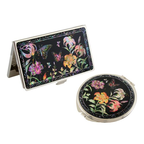 Set Miroir de Poche + Porte cartes de visite Nacre Collection Fleur LIS