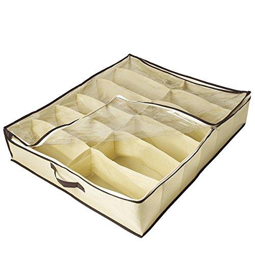 Ihomepark scarpe sottoletto organizzatore portascarpe in tela resistente - (12 paia), scatola di scarpe contenitore per sneaker sotto al letto, in cerniera trasparente coperchio