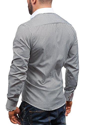 BOLF Langarm Herrenhemd Hemd Figurbetont Freizeit Slim Fit 5758 Weiß-Schwarz