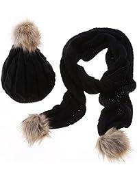 1af4f424aa58 Tininna - Ensemble bonnet en laine et écharpe longue, bonnet de ski pour  femmes,