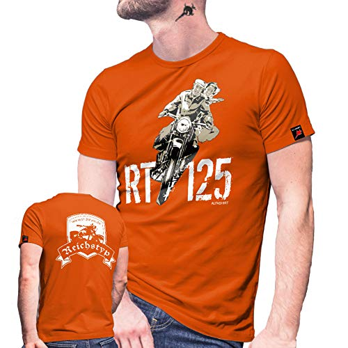 RT Forum 125 Motorrad Reichstyp Oldtimer Biker Internet Seite T Shirt #27380, Größe:M, Farbe:Orange