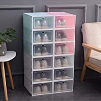 SUPERZN Stackable Storage Shoe Box Closet Storage Organizer Transparent Home Container Drawer 6Pcs (3 in White and 3 in Pink)
