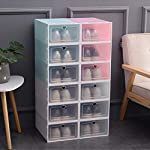 SUPERZN Stackable Storage Shoe Box Closet Storage Organizer Transparent Home Container Drawer 6Pcs