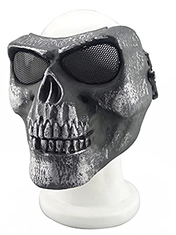 XY Metallmaske für Radfahren/Halloween/Paintball, Totenkopf/Skelett, 012765, 22YH (22 Halloween Kostüme)