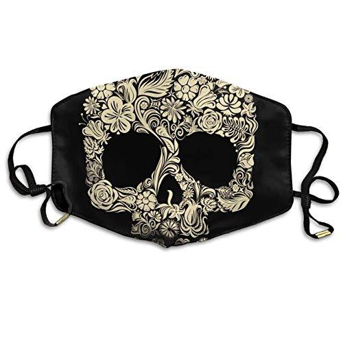 Louis Berry Gesichtsmaske mit Ohrschlaufe, Staubschutz, für Radfahren, wiederverwendbar, Halloween, goldfarbener Totenkopf