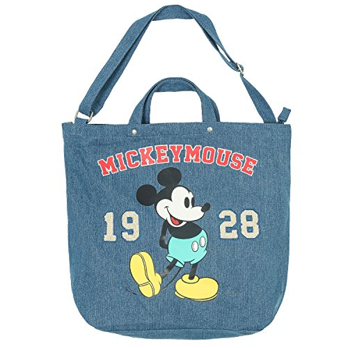 ililily Disney Mickey Maus als Druckmotiv Solid Farbe Baumwolle Kanevas Umhängetasche Tasche , Denim Blue (Denim-denim Blank)