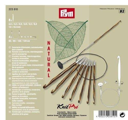 Prym Tunesische Set Natural 3,5-8,0 mm Häkelnadel, Wood, Mehrfarbig, 3,5-8 mm (Tunesisch Häkelnadel)