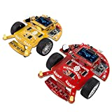 SunFounder SF-Rollbot STEM Learning Educational DIY Robot Kit GUI-Mixly for Arduino Beginner Bluetooth Module Infrared Sensor Module Yellow&Red