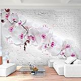 Fototapete Blumen Orchidee Steinwand 352 x 250 cm - Vlies Wand Tapete Wohnzimmer Schlafzimmer Büro Flur Dekoration Wandbilder XXL Moderne Wanddeko - 100% MADE IN GERMANY - 9323011b