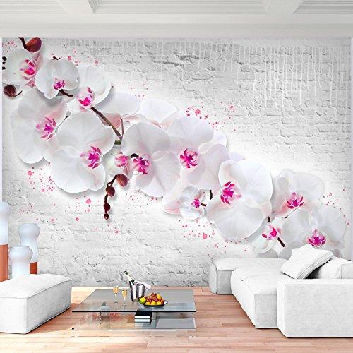 Fototapete Blumen Orchidee Steinwand Vlies Wand Tapete Wohnzimmer  Schlafzimmer Büro Flur Dekoration Wandbilder XXL Moderne Wanddeko ...