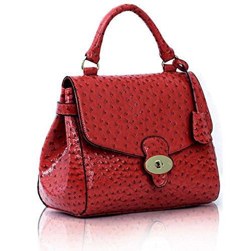 Zarla-Borsa a tracolla da donna in finta pelle di struzzo con chiusura a cartella e Rosa (rosa)