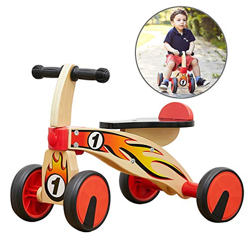 TOP BRIGHT Baby Wooden Bikes, Wooden Ride On Toy for 1 2 Year Olds, Baby Scooter Age 1 with 4 Wheels