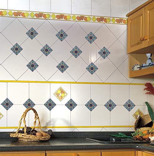 EXTSUD Adesivi Diagonali per Piastrelle Muro Pavimento, Set da 20 Pezzi 10x10cm, Wall Stickers da Mattonelle Parete in PVC Impermeabile Autoadesivo Decorazione per Cucina Bagno (10x10cm, Blu)