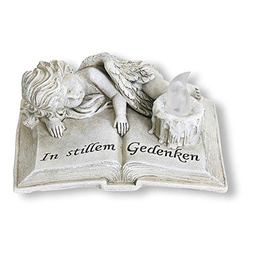HC-Handel 930686 Grab-Deko Buch mit Engel und LED-Licht Polyresin 17 x 12,5 x 8 cm antik-grau