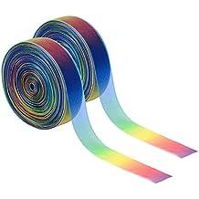 (100 Yardas) 1 Pulgada Cinta de Organza Brillante Transparente, Colores de Arco Iris