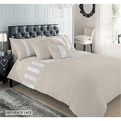 Parure de lit luxueuse en coton de qualité supérieure à sequins brillants, Latte, Double
