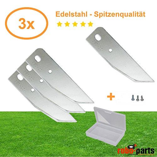3 Stück Ersatzmesser Edelstahl für AL-KO Robolinho 100, 3000, 4000 Mähroboter