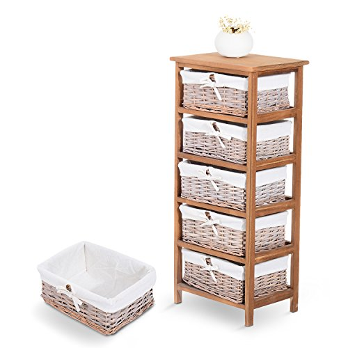 Homcom 5 Drawer Storage Unit Wooden Frame With Wicker Woven Baskets Household Cabinet Chest