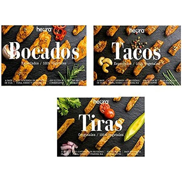 Pack de 3: Bocados, Tiras & Tacos HEURA 180g | 100% Vegetales ...