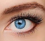 ELFENWALD farbige Kontaktlinsen, 3 - Monatslinsen AZUR HELLBLAU, gut deckend, natürlicher Look, maximaler Tragekomfort, ohne Stärke, 1 Paar weiche Farblinsen, inkl. Behälter und Anleitung