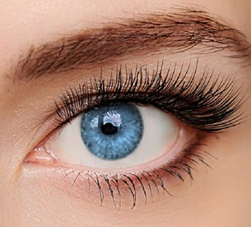 ELFENWALD farbige Kontaktlinsen, INTENSE BLAU / AZUR, natürlicher Look, maximaler Tragekomfort, ohne Stärke, 1 Paar weiche Farblinsen, inkl. Behälter und Anleitung 3 - Monatslinsen (Natürliche Farbige Kontaktlinsen)