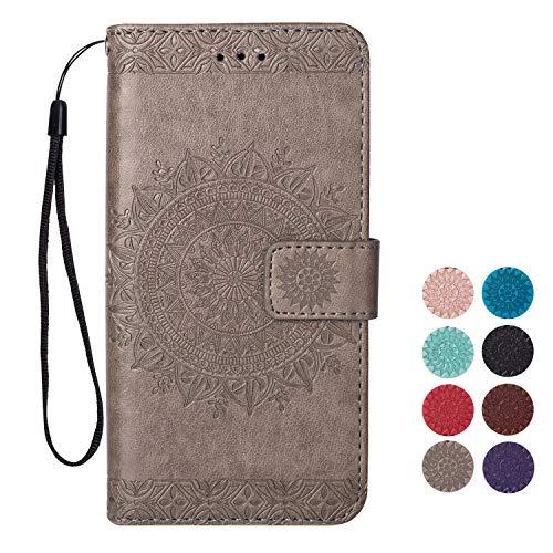 Rose-Otter Kompatibel für Apple iPhone 6S 6 Hülle Leder Handyhülle Flip Case Kartenfach Klappbar Stoßfest Bumper Schutzhülle Tasche mit Muster Mandala Blume Grau -