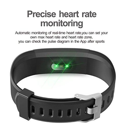Monitor de Fitness Muzili YG3 Plus Pulsera Actividad Reloj Medidor Deportivo Inteligente Podómetro con monitor de ritmo cardíaco / GPS / Contador de pasos / Sleep Monitor / Control de la cámara para Android e iOS (BK+Purple strap)