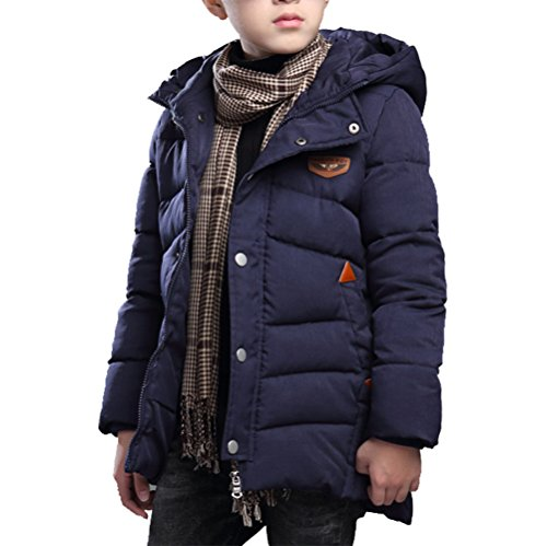 Winterjacke Jungen Verdickte Lange Wintermantel mit kapuze Winter Jacket Blau 140