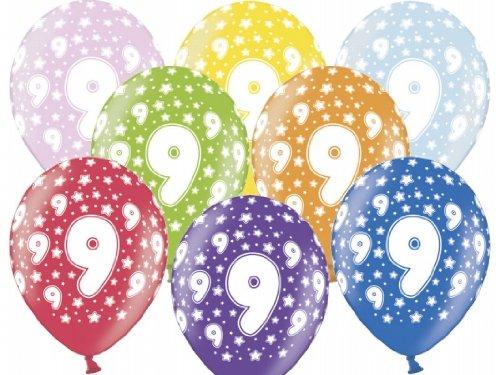 """SiDeSo® 10 Luftballons 12"""" Party Geburtstag Jahrestag (Zahl 9)"""