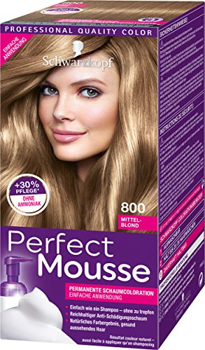 Schwarzkopf Perfect Mousse Permanente Schaumcoloration 800 Mittel-Blond Stufe 3, 3er Pack (3 x 93 ml)