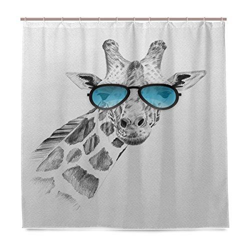 ShineSnow Badezimmer Dusche Vorhang Hand Drawn Giraffe mit Sonnenbrille Design Haltbarer Stoff Bad Vorhänge Schimmelresistent Wasserdicht Badezimmer mit 12Haken 183,0cm x183,0cm