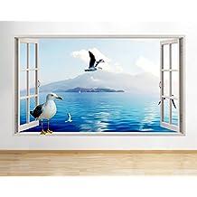F099gabbiani uccello mare oceano finestra decalcomania da parete adesivi 3D Art Vinyl Room