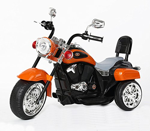 RICCO TR1501 Kids 3 Wheel Chopper Trike Motorcycle Electric Ride on Motor Bike LED Lights and Music (ORANGE)
