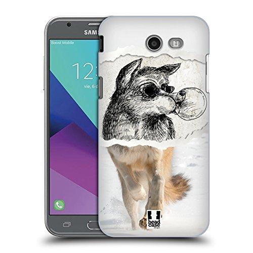 Hülle + Folie + Charm Hauchdünne Polycarbonat Snap auf Passt Samsung Galaxy J3Luna Pro/j327p J32017/AMP Prime 2/J3Emerge/Express Prime 2/Sol 2/J3Prime (Harte Rückseite), Wolf from Desert -