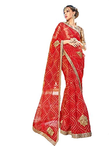 V's Fashion Point Supernet Artsilk sarees (Red)