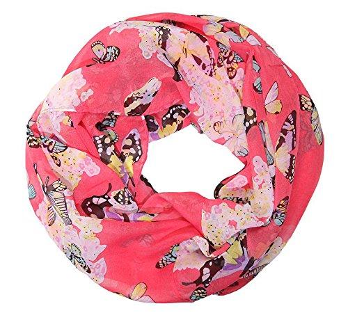 MANUMAR Loop-Schal für Damen   Hals-Tuch in rosa rot mit Schmetterling Motiv als perfektes Herbst Winter Accessoire   Schlauchschal   Damen-Schal   Rundschal   Geschenkidee für Frauen und Mädchen