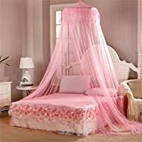 Cheers-online Round Polyester Curtain Dome Bed Canopy Netting Princess Mosquito Net - Pink