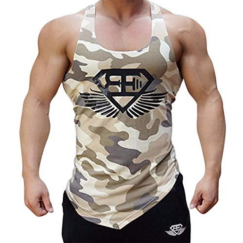 Never-hu Army Camo Men Fitness Tanktop, Camouflage Herren Bodybuilding Stringers Tanktops, Singulett Markenkleidung Ärmelloses Shirt