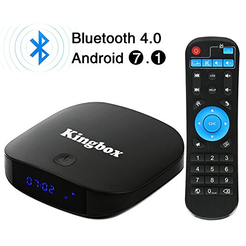 Kingbox - [2018 Neueste Version] K1 PLUS Android 7.1 TV Box 2GB Ram + 8GB eMMC/ 4K HD/ Quad-Core/ Bluetooth 4.0/ 2.4Ghz WiFi / 100 LAN / H.265 Smart TV Box