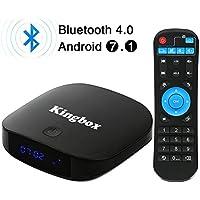 Kingbox - [2018 Neueste Version] K1 PLUS Android 7.1 TV Box 2GB Ram + 8GB eMMC/4K HD/Quad-Core/Bluetooth 4.0/2.4Ghz WiFi/100 LAN/H.265 Smart TV Box
